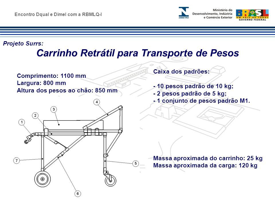 Marca do evento Projeto Surrs: Carrinho Retrátil para Transporte de Pesos Encontro Dqual e Dimel com a RBMLQ-I Comprimento: 1100 mm Largura: 800 mm Al