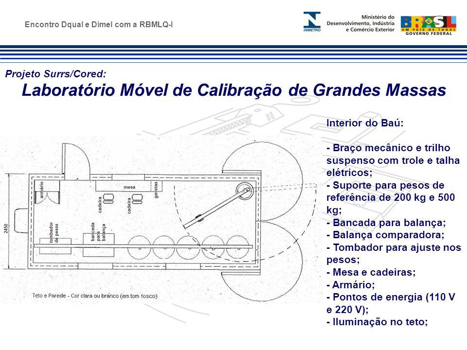 Marca do evento Projeto Surrs/Cored: Laboratório Móvel de Calibração de Grandes Massas Interior do Baú: - Braço mecânico e trilho suspenso com trole e