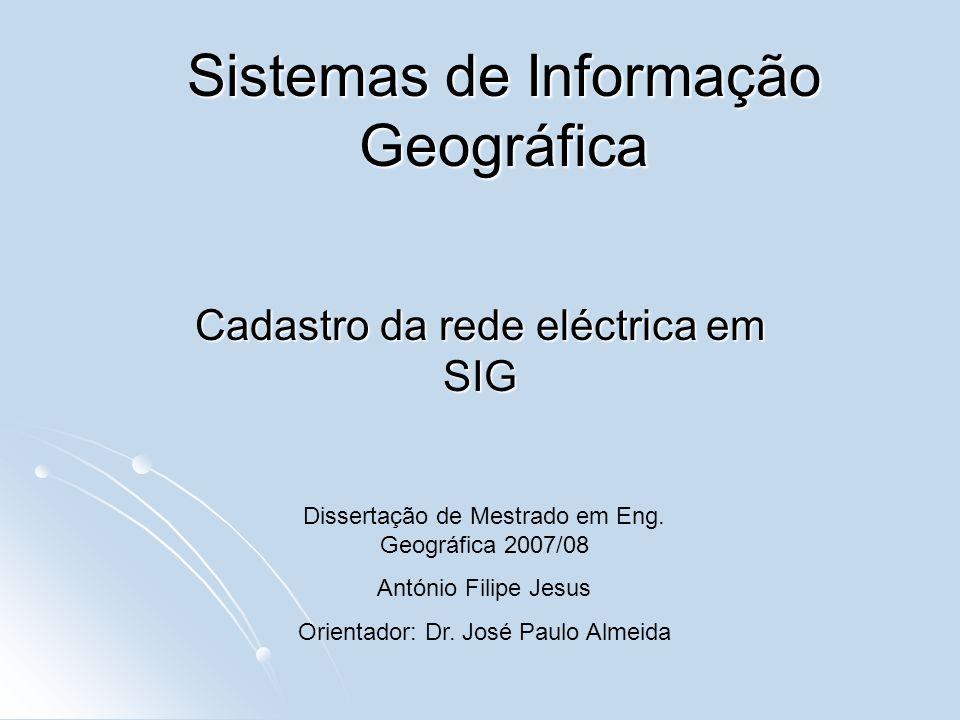 Sistemas de Informação Geográfica Cadastro da rede eléctrica em SIG Dissertação de Mestrado em Eng. Geográfica 2007/08 António Filipe Jesus Orientador