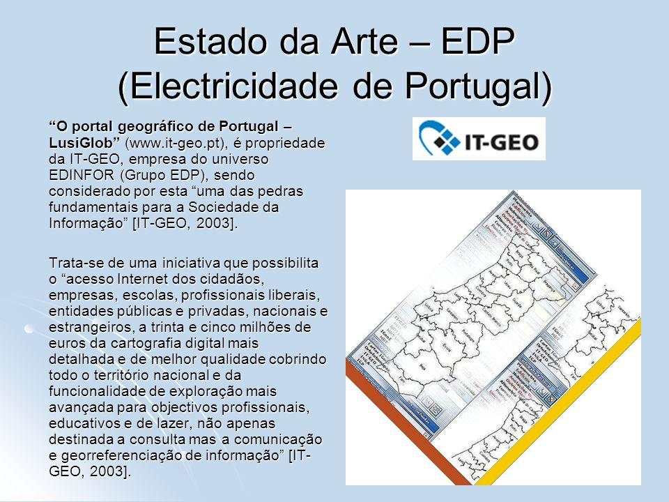 Estado da Arte – EDP (Electricidade de Portugal) O portal geográfico de Portugal – LusiGlob (www.it-geo.pt), é propriedade da IT-GEO, empresa do unive