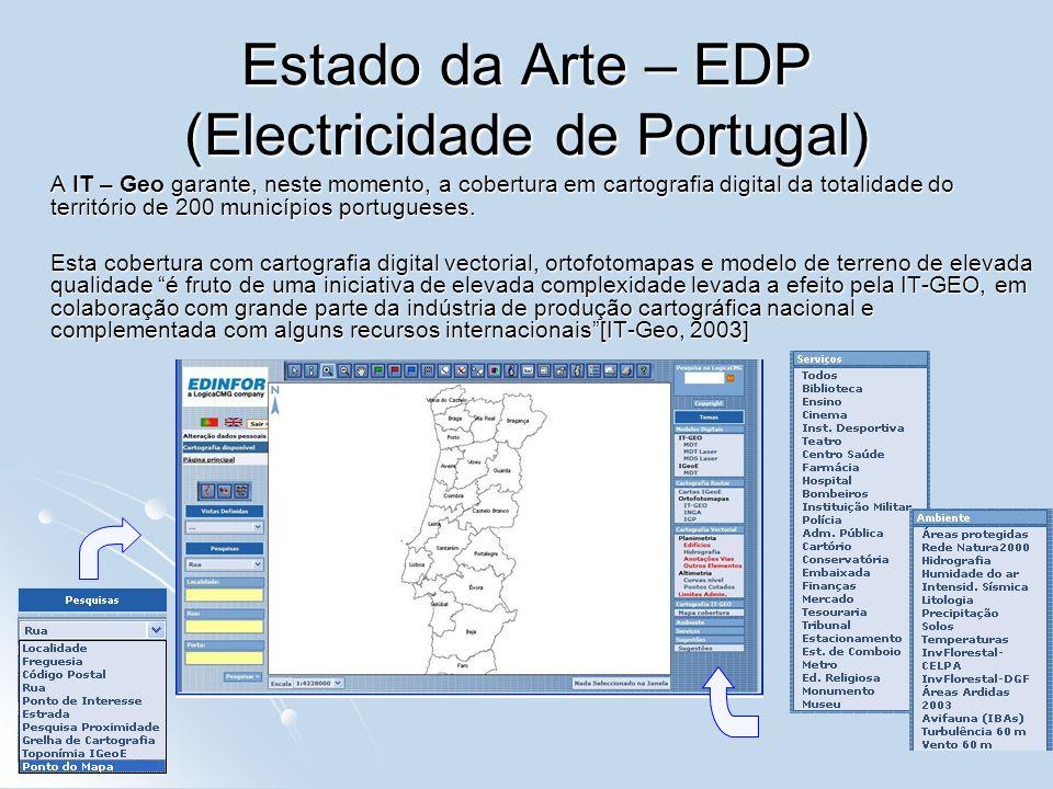 Estado da Arte – EDP (Electricidade de Portugal) A IT – Geo garante, neste momento, a cobertura em cartografia digital da totalidade do território de