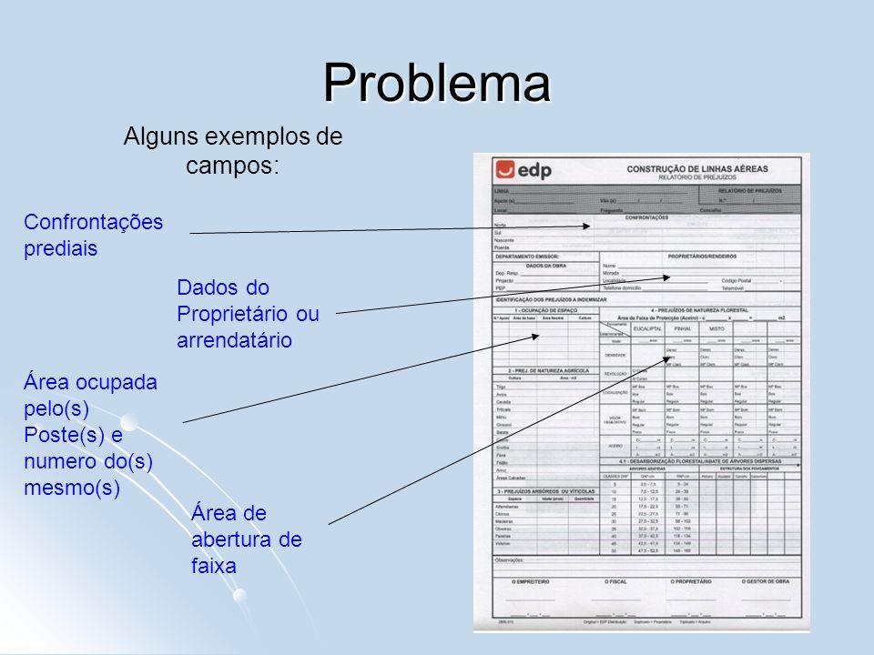 Problema Confrontações prediais Dados do Proprietário ou arrendatário Área ocupada pelo(s) Poste(s) e numero do(s) mesmo(s) Área de abertura de faixa