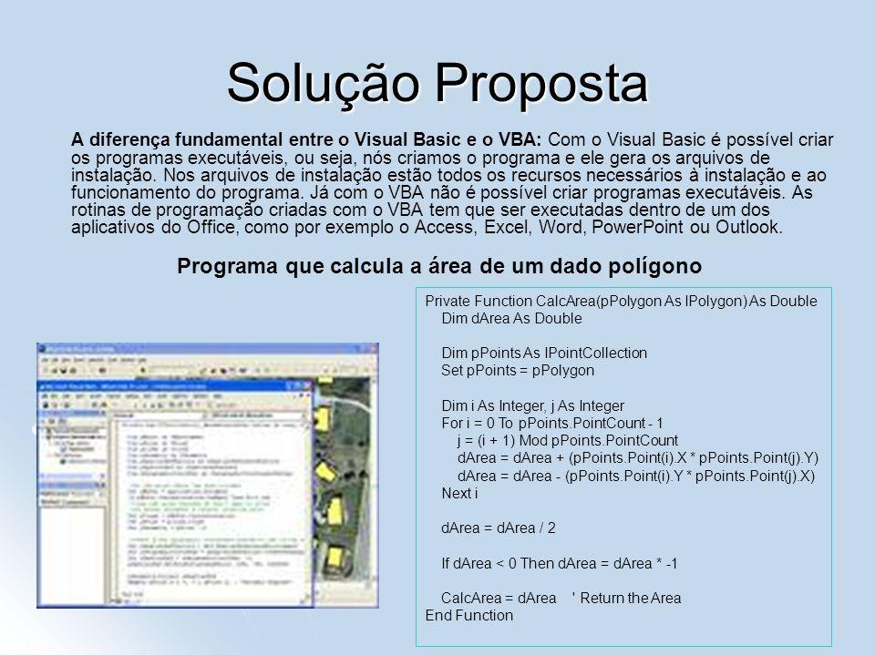 Solução Proposta A diferença fundamental entre o Visual Basic e o VBA: Com o Visual Basic é possível criar os programas executáveis, ou seja, nós cria