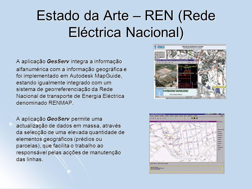 Estado da Arte – REN (Rede Eléctrica Nacional) A aplicação GesServ integra a informação alfanumérica com a informação geográfica e foi implementado em