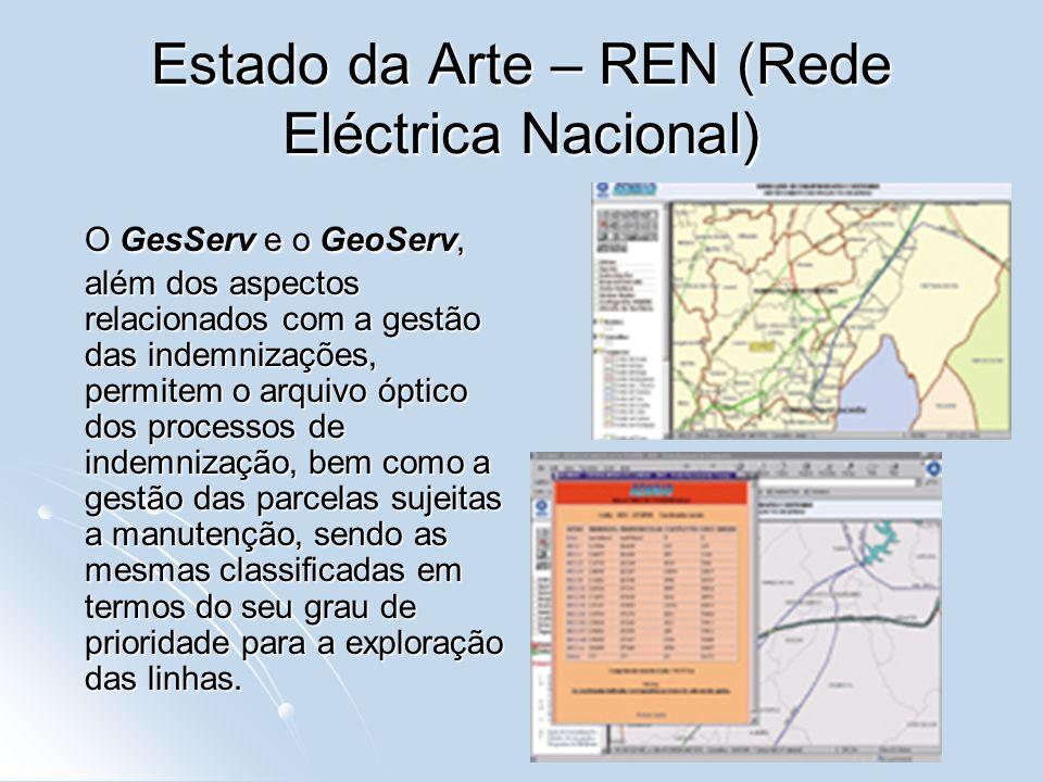 Estado da Arte – REN (Rede Eléctrica Nacional) O GesServ e o GeoServ, além dos aspectos relacionados com a gestão das indemnizações, permitem o arquiv