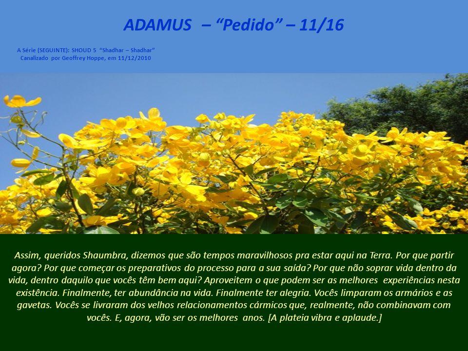 ADAMUS – Pedido – 10/16 A Série (SEGUINTE): SHOUD 5 Shadhar – Shadhar Canalizado por Geoffrey Hoppe, em 11/12/2010 Então, nós pedimos a cada um de vocês que considerem, enfim, permanecer.