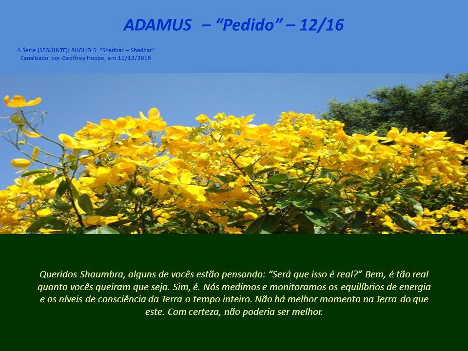 ADAMUS – Pedido – 11/16 A Série (SEGUINTE): SHOUD 5 Shadhar – Shadhar Canalizado por Geoffrey Hoppe, em 11/12/2010 Assim, queridos Shaumbra, dizemos que são tempos maravilhosos pra estar aqui na Terra.