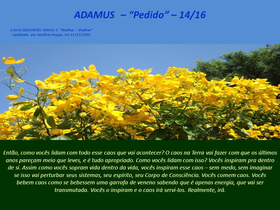 ADAMUS – Pedido – 13/16 A Série (SEGUINTE): SHOUD 5 Shadhar – Shadhar Canalizado por Geoffrey Hoppe, em 11/12/2010 Agora, como posso dizer isso e também dizer a vocês que 2011, 2012 serão um completo caos.
