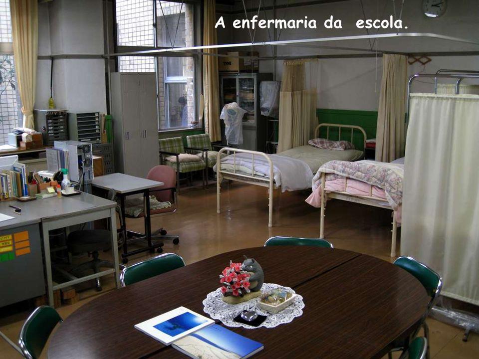 Ao fundo da sala existem armários (sem portas), para que os alunos guardem suas coisas.