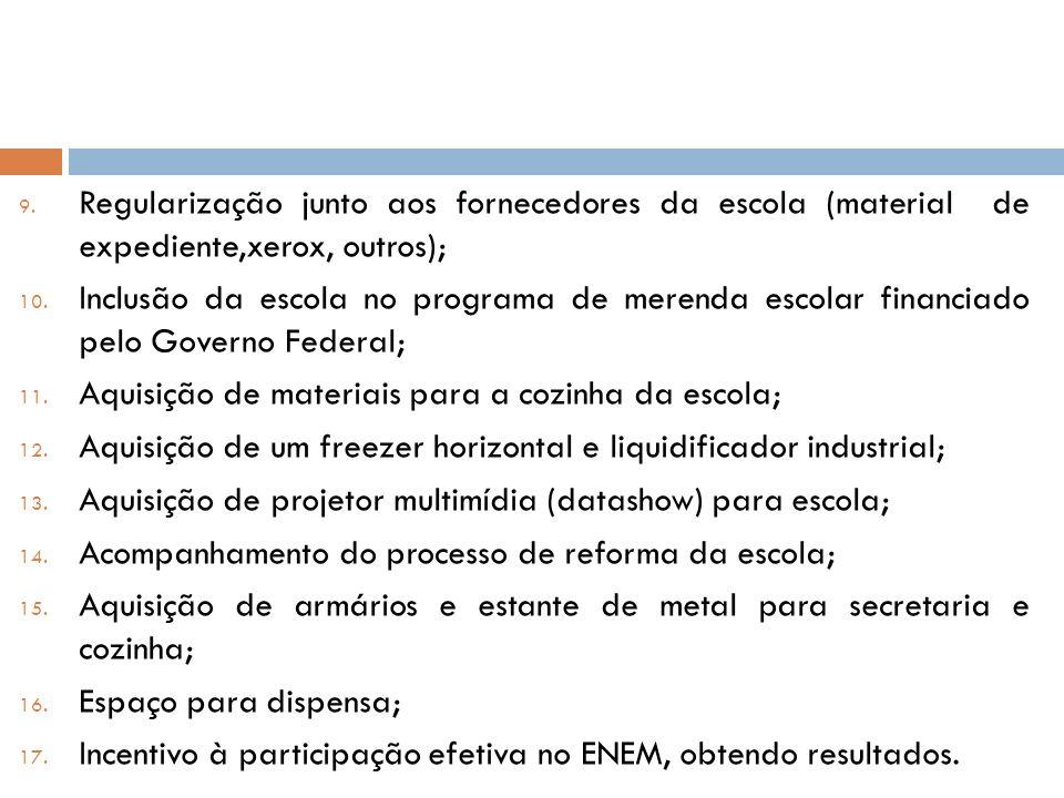 9. Regularização junto aos fornecedores da escola (material de expediente,xerox, outros); 10. Inclusão da escola no programa de merenda escolar financ