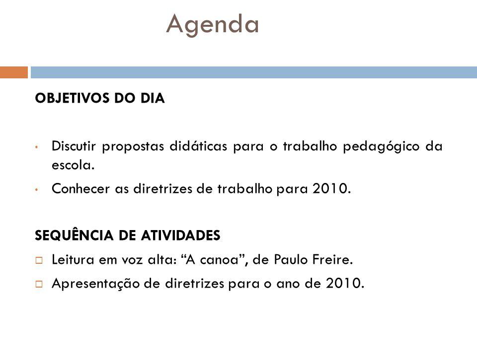 Agenda OBJETIVOS DO DIA Discutir propostas didáticas para o trabalho pedagógico da escola. Conhecer as diretrizes de trabalho para 2010. SEQUÊNCIA DE