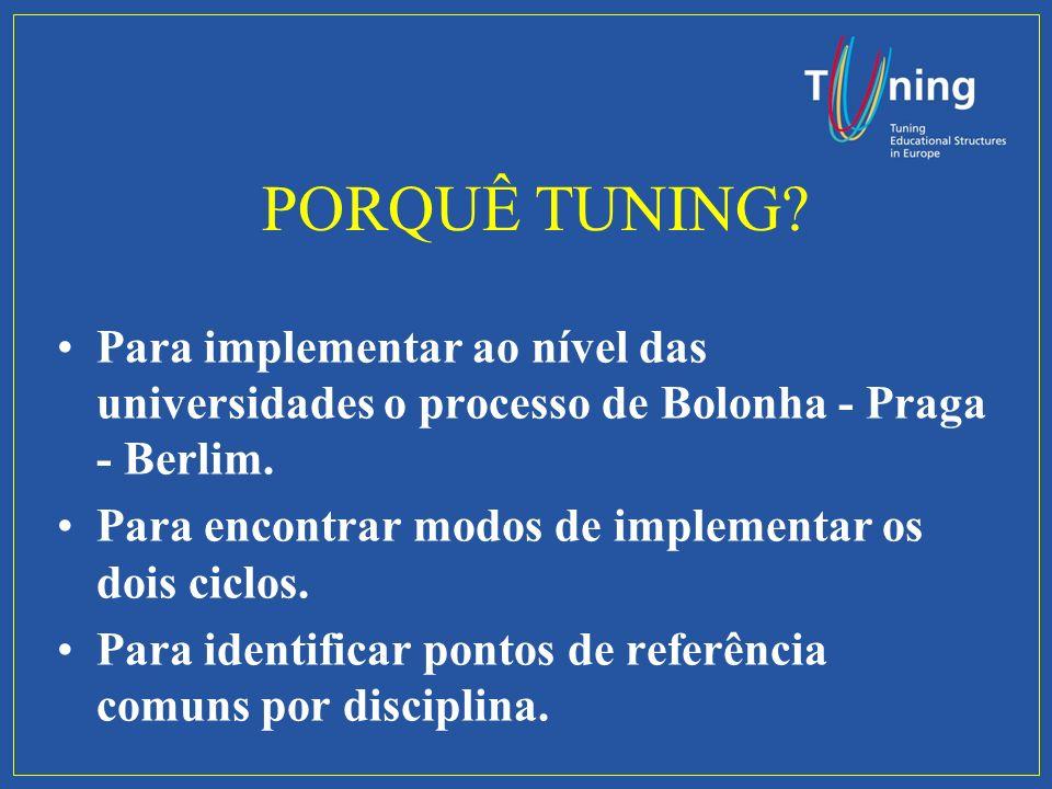 PORQUÊ TUNING. Para implementar ao nível das universidades o processo de Bolonha - Praga - Berlim.