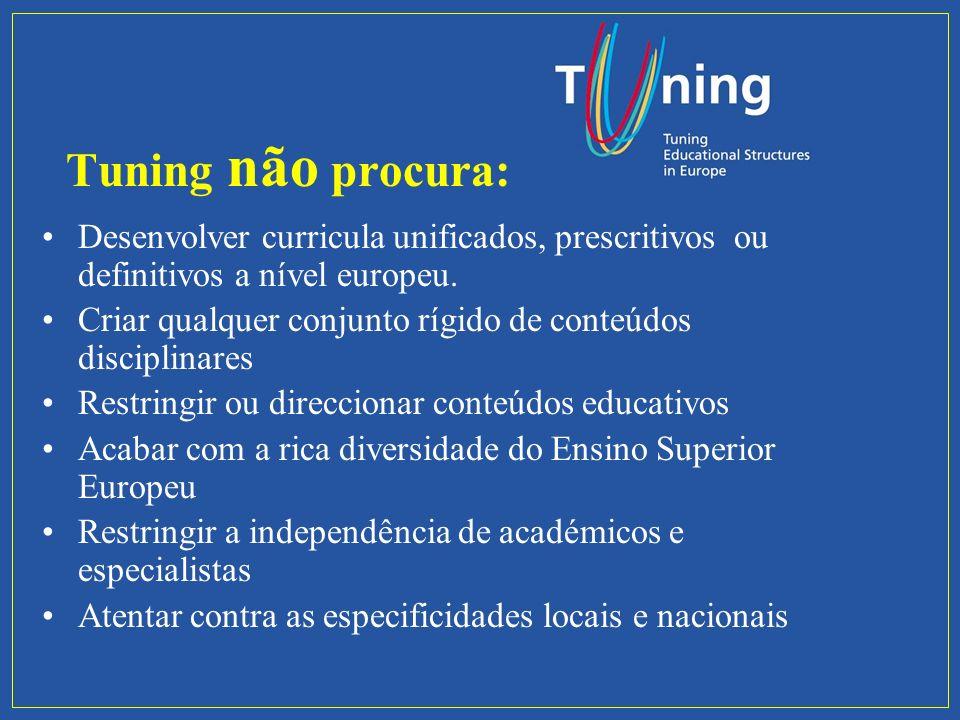 Tuning não procura: Desenvolver curricula unificados, prescritivos ou definitivos a nível europeu.
