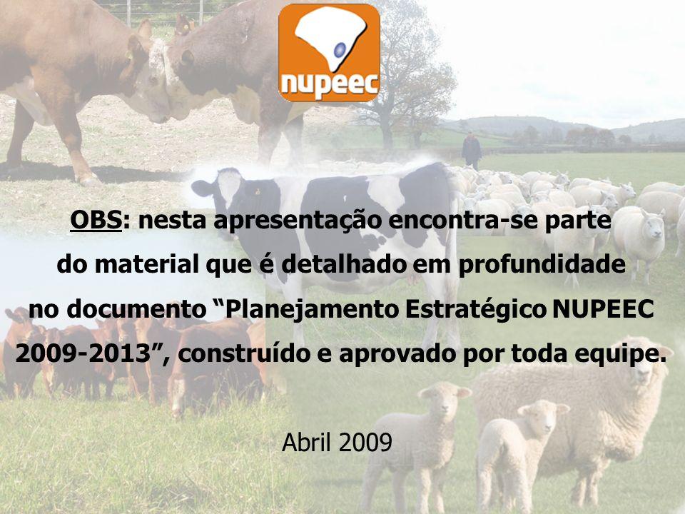 1 OBS: nesta apresentação encontra-se parte do material que é detalhado em profundidade no documento Planejamento Estratégico NUPEEC 2009-2013, construído e aprovado por toda equipe.