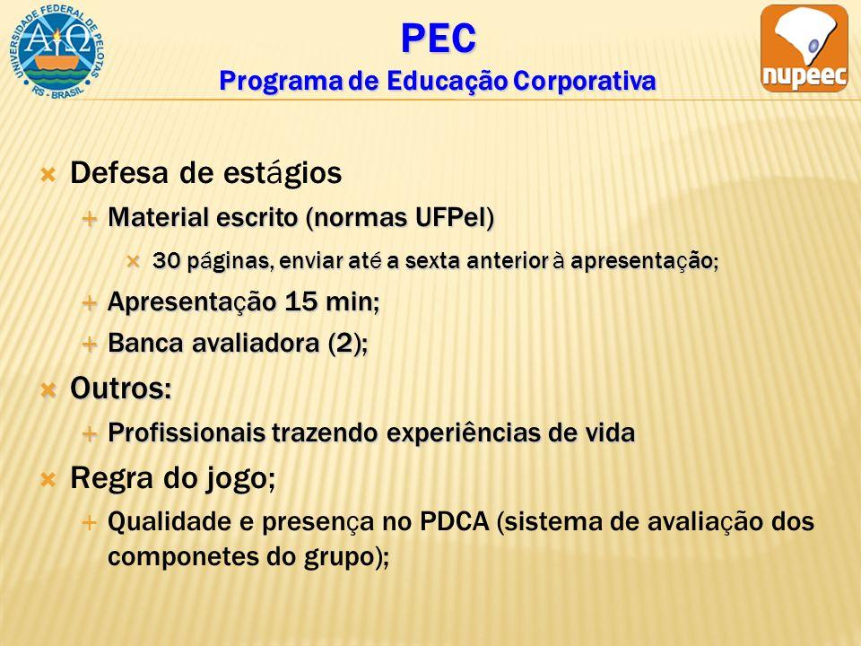 PEC Programa de Educação Corporativa Defesa de estágios Material escrito (normas UFPel) Material escrito (normas UFPel) 30 páginas, enviar até a sexta