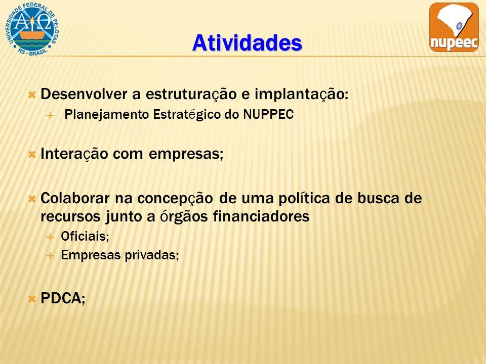 Atividades Desenvolver a estruturação e implantação: Planejamento Estratégico do NUPPEC Interação com empresas; Colaborar na concepção de uma política