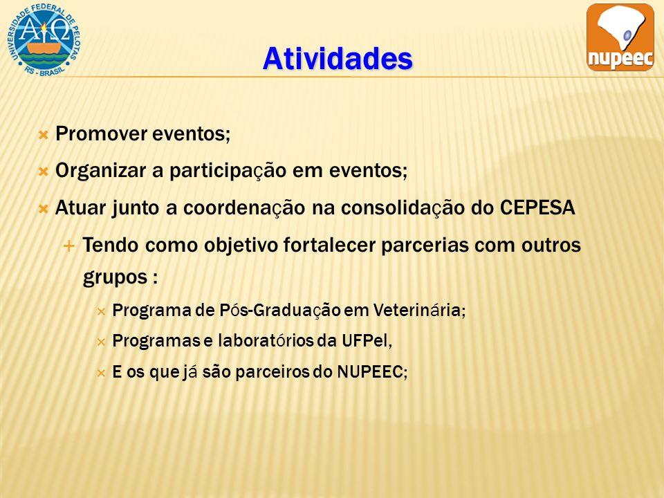 Atividades Promover eventos; Organizar a participação em eventos; Atuar junto a coordenação na consolidação do CEPESA Tendo como objetivo fortalecer parcerias com outros grupos : Programa de Pós-Graduação em Veterinária; Programas e laboratórios da UFPel, E os que já são parceiros do NUPEEC;