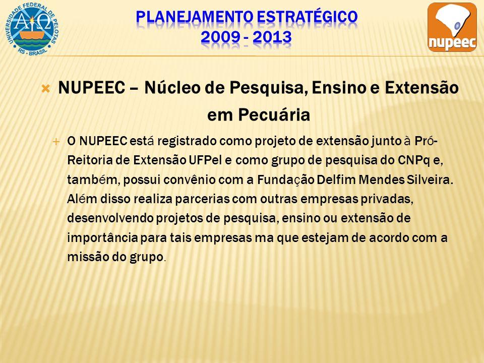 NUPEEC – Núcleo de Pesquisa, Ensino e Extensão em Pecuária O NUPEEC está registrado como projeto de extensão junto à Pró- Reitoria de Extensão UFPel e como grupo de pesquisa do CNPq e, também, possui convênio com a Fundação Delfim Mendes Silveira.