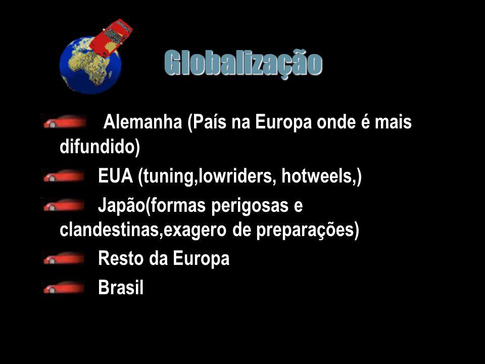 Globalização Alemanha (País na Europa onde é mais difundido) EUA (tuning,lowriders, hotweels,) Japão(formas perigosas e clandestinas,exagero de preparações) Resto da Europa Brasil
