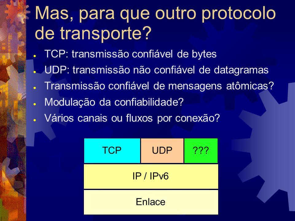 História do SCTP Comitê SIGTRAN foi encarregado de procurar um transporte para SS7 MDTP (Multinetwork Datagram Transmission Protocol): protocolo sobre UDP que atendia os requisitos do SIGTRAN Evoluiu até tornar-se o SCTP, que foi promovido a protocolo de transporte IP / IPv6 UDP MDTP IP / IPv6 UDP SCTP IP / IPv6 SCTP