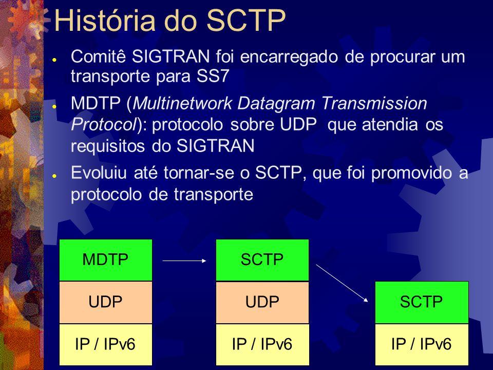 Associações e fluxos (streams) Associação SCTP: análoga à conexão TCP Fluxos: canais unidirecionais para envio de mensagens (até 65.536 por direção) Número de fluxos negociado na criação da associação Terminal Fluxos