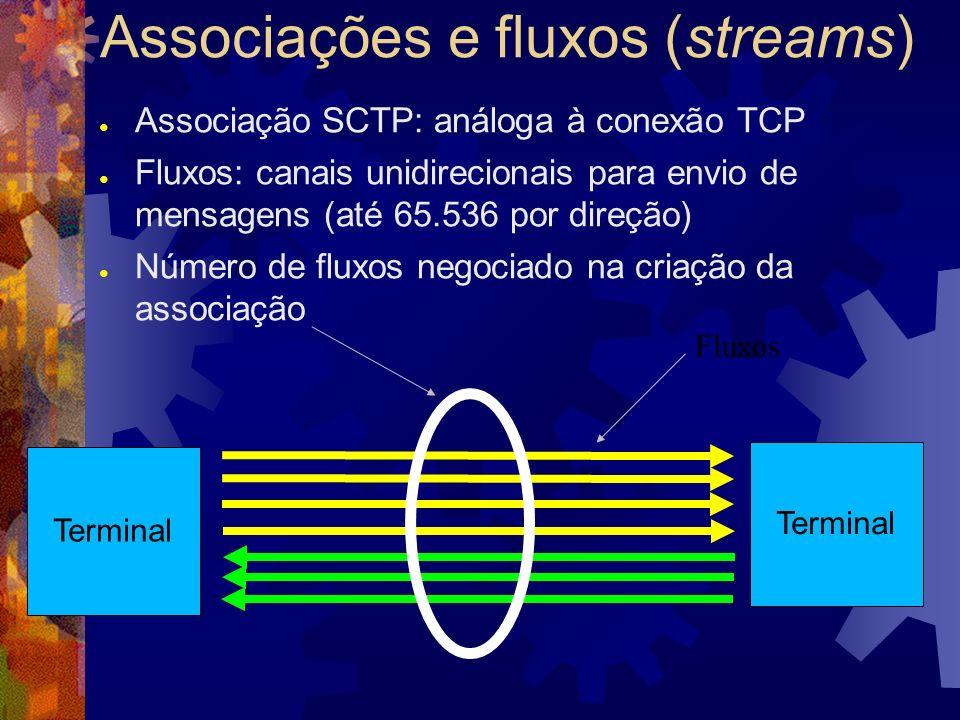 Mensagens atômicas Transmitidas e recebidas de forma indivisível pelas aplicações Podem ser maiores que um datagrama (se a implementação permitir) Aplicação pode ignorar as fronteiras das mensagens A ordem de entrega das mensagens é respeitada apenas dentro de cada fluxo (evita HOL Blocking) Fluxos Msg #1Msg #2Msg #3Msg #4 Msg #1Msg #2Msg #3 perdida Msg #3 aguardam retransmissão msg #1
