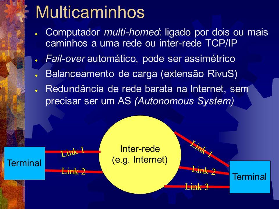 Outros detalhes do SCTP Abertura da associação sem estado meio-aberto, imune a ataques blind spoof e SYN flood Checksum de 32 bits (CRC32c) Controle de congestionamento igual a TCP Estruturas TLV ao invés de bitmaps e campos fixos API BSD Sockets: estilo TCP e estilo UDP TipoComprimentoValor Tipo (8b) Flags (8b)Valor - alinhado em 32 bitsComprimento (16b)