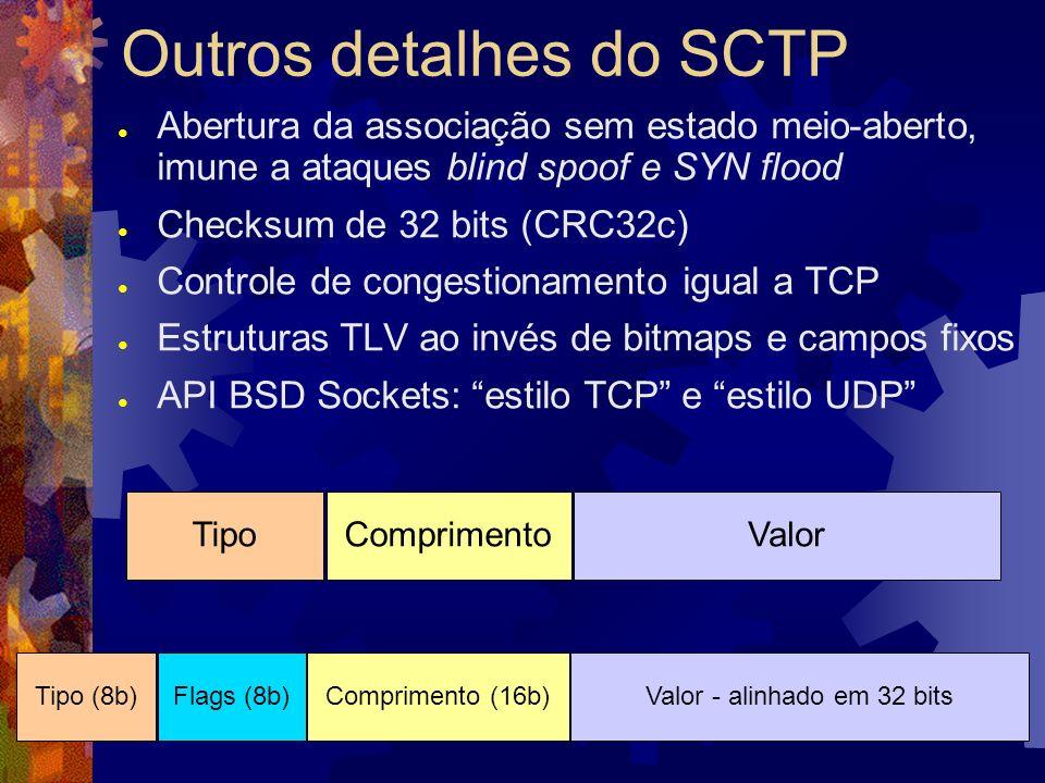 Objetivos deste trabalho Achar oportunidades de uso do SCTP em lugar de TCP e UDP, para protocolos de aplicação preexistentes Testes de desempenho bruto Testes de desempenho com protocolos e aplicações reais (HTTP, SMB, RTP) Oferecer exemplos de uso da API Sockets com SCTP (softwares novos ou adaptados) Feedback aos mantenedores
