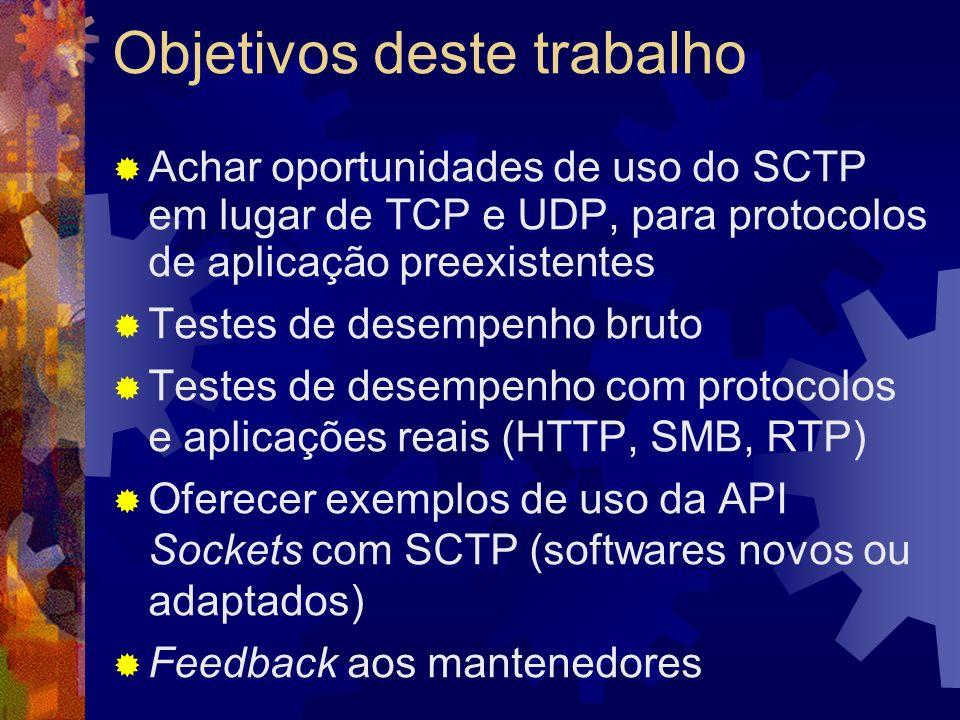 Aplicabilidade do SCTP Em lugar de TCP Mensagens indivisíveis Múltiplas conexões ou fluxos paralelos Segurança melhorada Multicaminhos Em lugar de UDP SCTP não possui *cast Multimídia em tempo real (onde TCP tem sido aplicado)