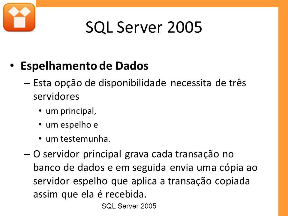Espelhamento de Dados – Esta opção de disponibilidade necessita de três servidores um principal, um espelho e um testemunha. – O servidor principal gr