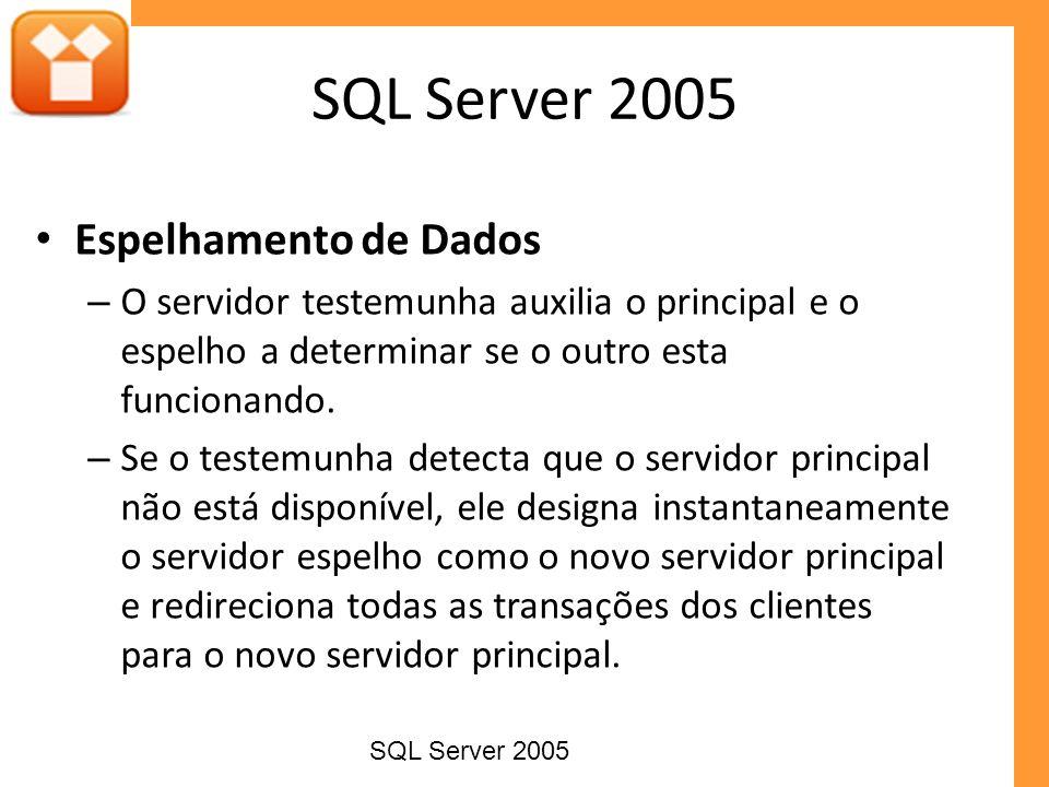 Espelhamento de Dados – O servidor testemunha auxilia o principal e o espelho a determinar se o outro esta funcionando. – Se o testemunha detecta que