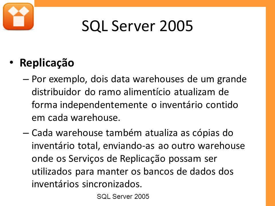 Replicação – Por exemplo, dois data warehouses de um grande distribuidor do ramo alimentício atualizam de forma independentemente o inventário contido