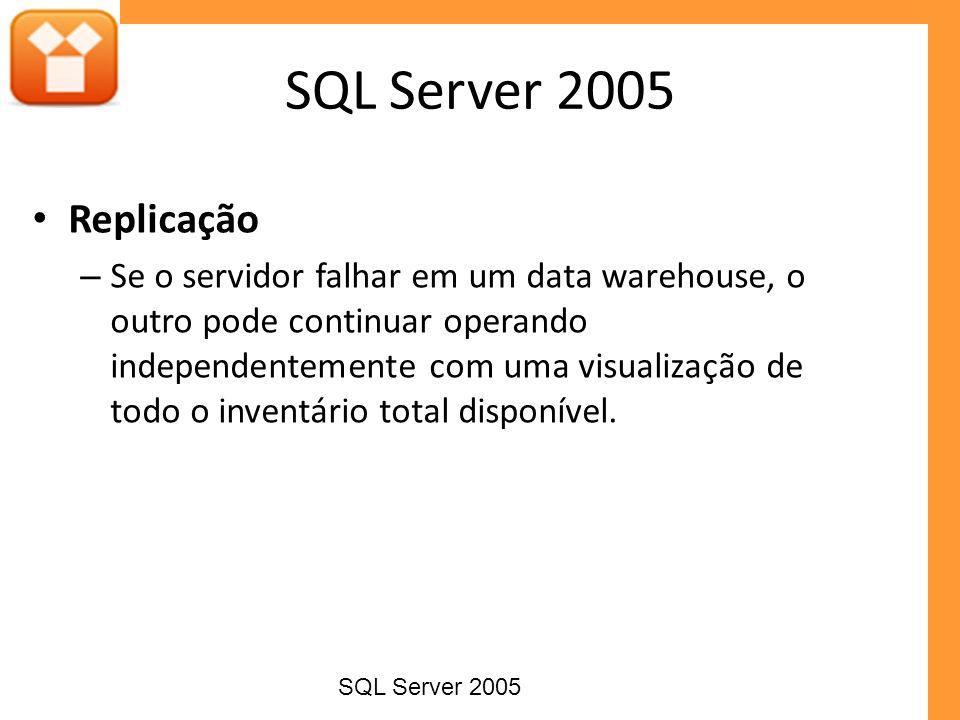 Replicação – Se o servidor falhar em um data warehouse, o outro pode continuar operando independentemente com uma visualização de todo o inventário to