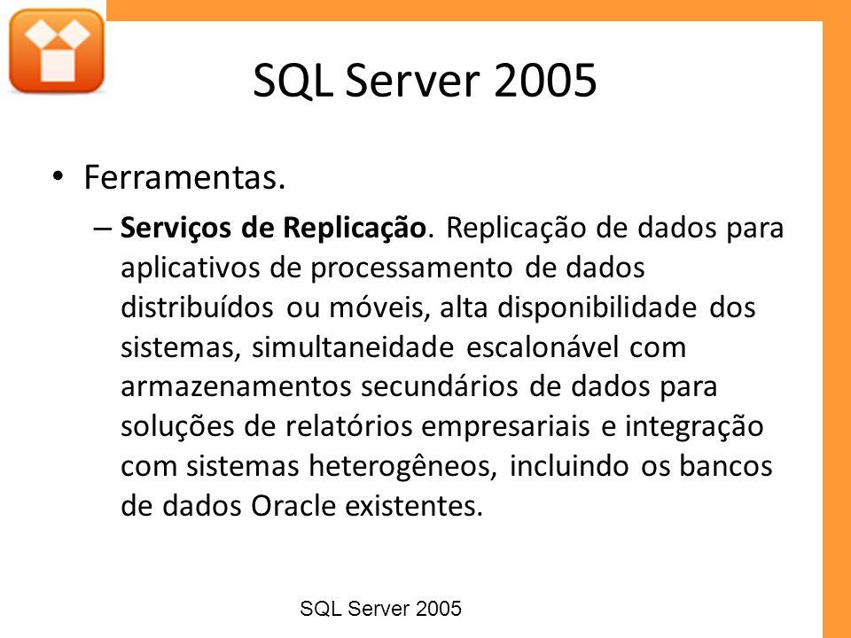Ferramentas. – Serviços de Replicação. Replicação de dados para aplicativos de processamento de dados distribuídos ou móveis, alta disponibilidade dos