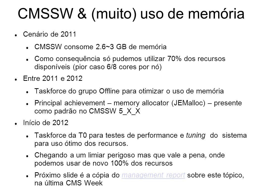 CMSSW & (muito) uso de memória Cenário de 2011 CMSSW consome 2.6~3 GB de memória Como consequência só pudemos utilizar 70% dos recursos disponíveis (pior caso 6/8 cores por nó) Entre 2011 e 2012 Taskforce do grupo Offline para otimizar o uso de memória Principal achievement – memory allocator (JEMalloc) – presente como padrão no CMSSW 5_X_X Início de 2012 Taskforce da T0 para testes de performance e tuning do sistema para uso ótimo dos recursos.