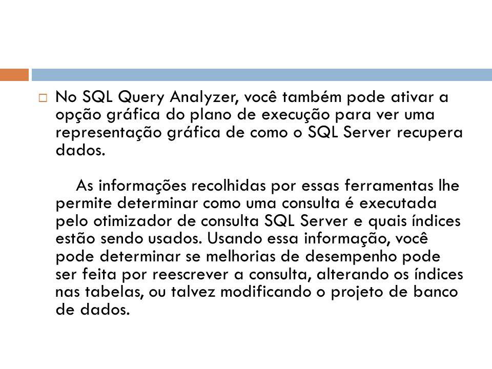 No SQL Query Analyzer, você também pode ativar a opção gráfica do plano de execução para ver uma representação gráfica de como o SQL Server recupera dados.
