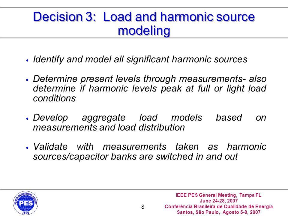 IEEE PES General Meeting, Tampa FL June 24-28, 2007 Conferência Brasileira de Qualidade de Energia Santos, São Paulo, Agosto 5-8, 2007 29 Case Study 1: Load Model 4, 5, and 6 Results