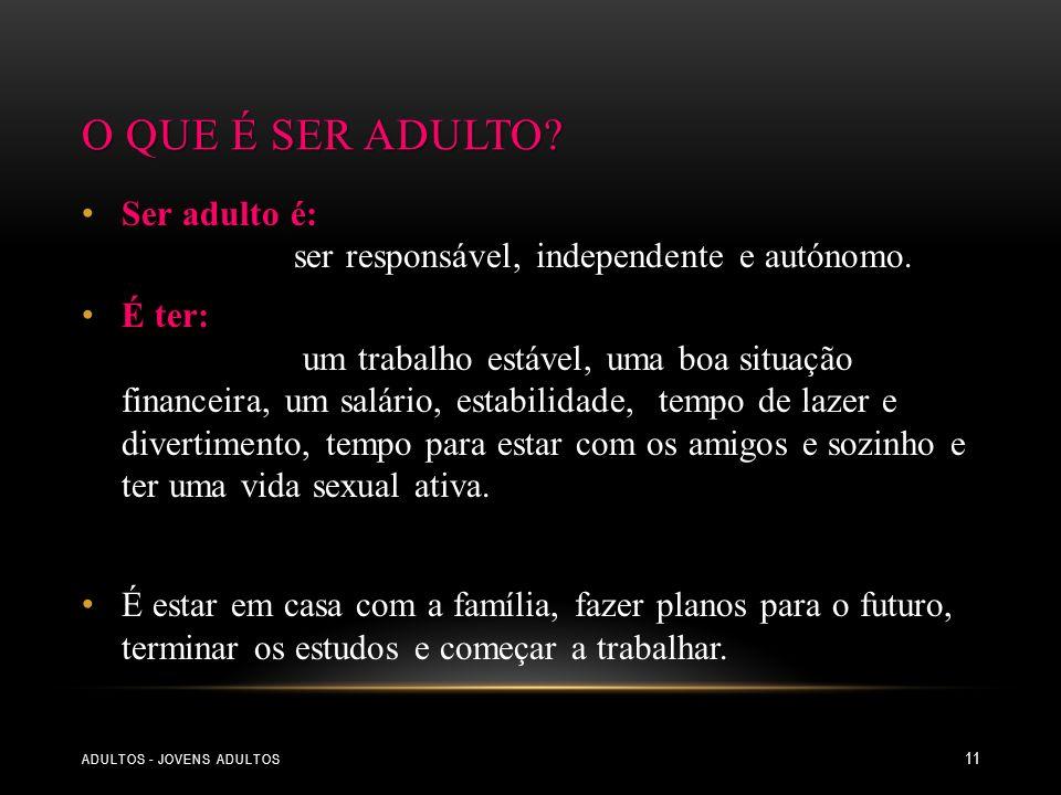 ADULTOS - JOVENS ADULTOS 11 Ser adulto é: ser responsável, independente e autónomo. É ter: um trabalho estável, uma boa situação financeira, um salári