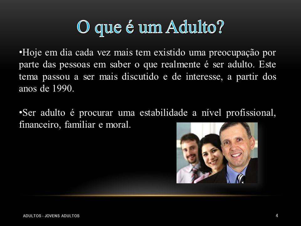 5 Jovem Adulto : Jovem Adulto : Entrada no mundo adulto (22-28 anos) Transição dos 30 anos (28-33 anos) Estabilização (33-40 anos) Meia Idade: Meia Idade: Transição para a meia idade (40-45 anos) Entrada na meia idade (45-50 anos) Transição dos 50 anos (50-55 anos) Culminar da meia idade (55-60 anos) Velhice: Velhice: Transição para a velhice (60-65 anos) Velhice