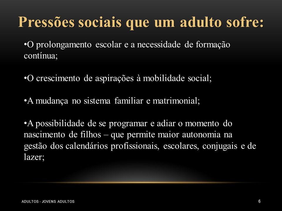 7 Pressões sociais que um adulto sofre: A melhoria das condições de vida; A revolução das necessidades, o incremento do consumo, da informação, da promoção do lazer, do rejuvenescimento e do hedonismo.