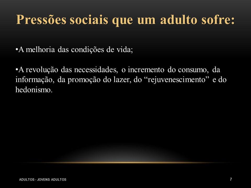 7 Pressões sociais que um adulto sofre: A melhoria das condições de vida; A revolução das necessidades, o incremento do consumo, da informação, da pro