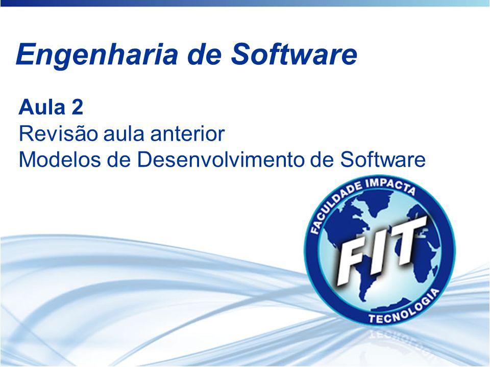 Engenharia de Software Aula 2 Revisão aula anterior Modelos de Desenvolvimento de Software