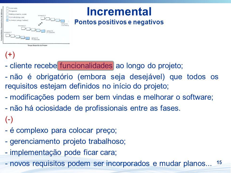 15 Incremental Pontos positivos e negativos (+) - cliente recebe funcionalidades ao longo do projeto; - não é obrigatório (embora seja desejável) que