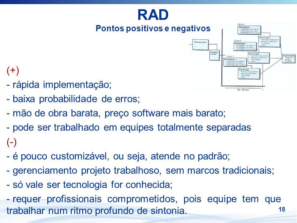 18 RAD Pontos positivos e negativos (+) - rápida implementação; - baixa probabilidade de erros; - mão de obra barata, preço software mais barato; - po