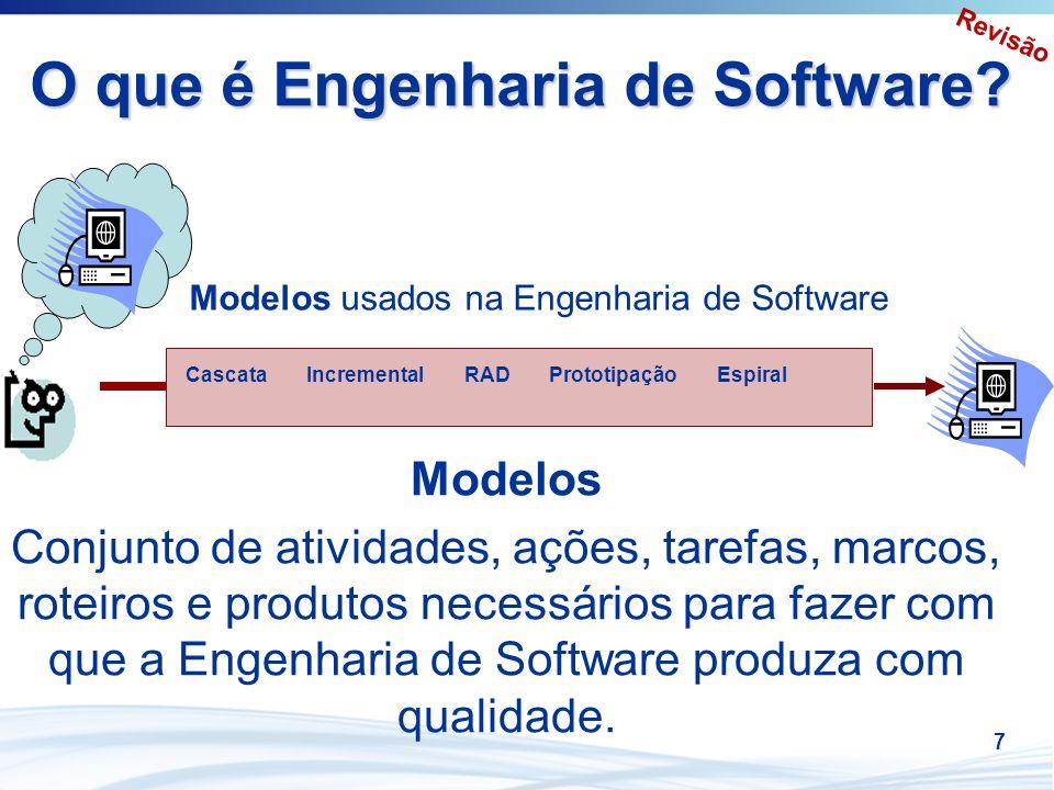7 O que é Engenharia de Software? IncrementalCascataRADPrototipaçãoEspiral Modelos usados na Engenharia de Software Modelos Conjunto de atividades, aç