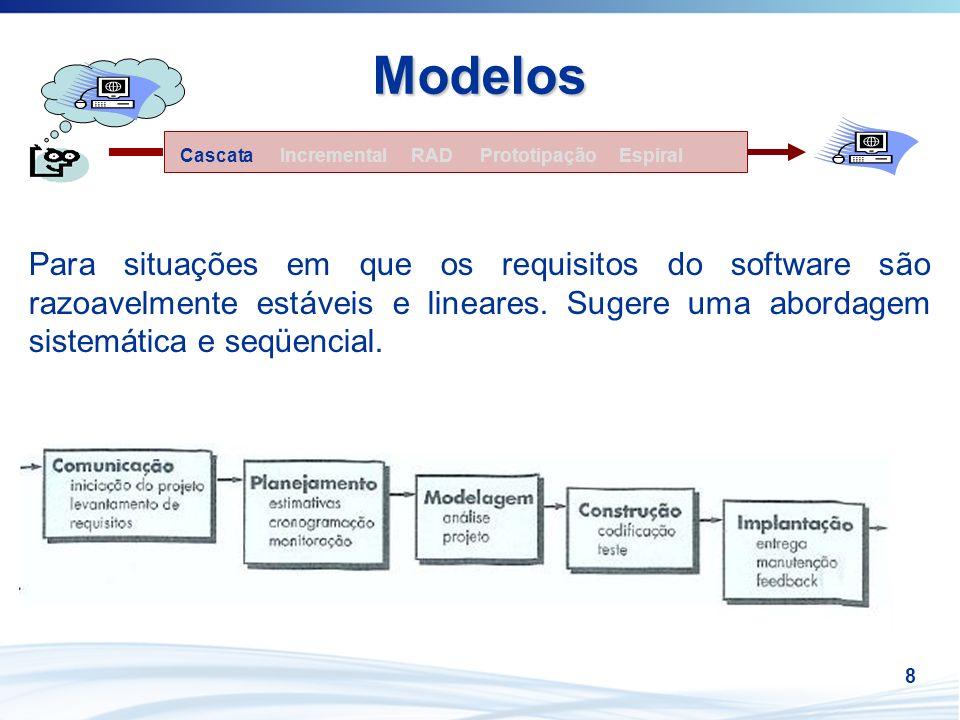 8 Modelos Para situações em que os requisitos do software são razoavelmente estáveis e lineares. Sugere uma abordagem sistemática e seqüencial. Increm