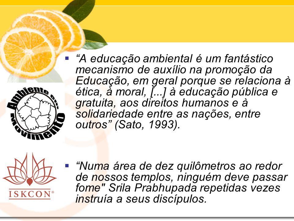 A educação ambiental é um fantástico mecanismo de auxílio na promoção da Educação, em geral porque se relaciona à ética, à moral, [...] à educação pública e gratuita, aos direitos humanos e à solidariedade entre as nações, entre outros (Sato, 1993).
