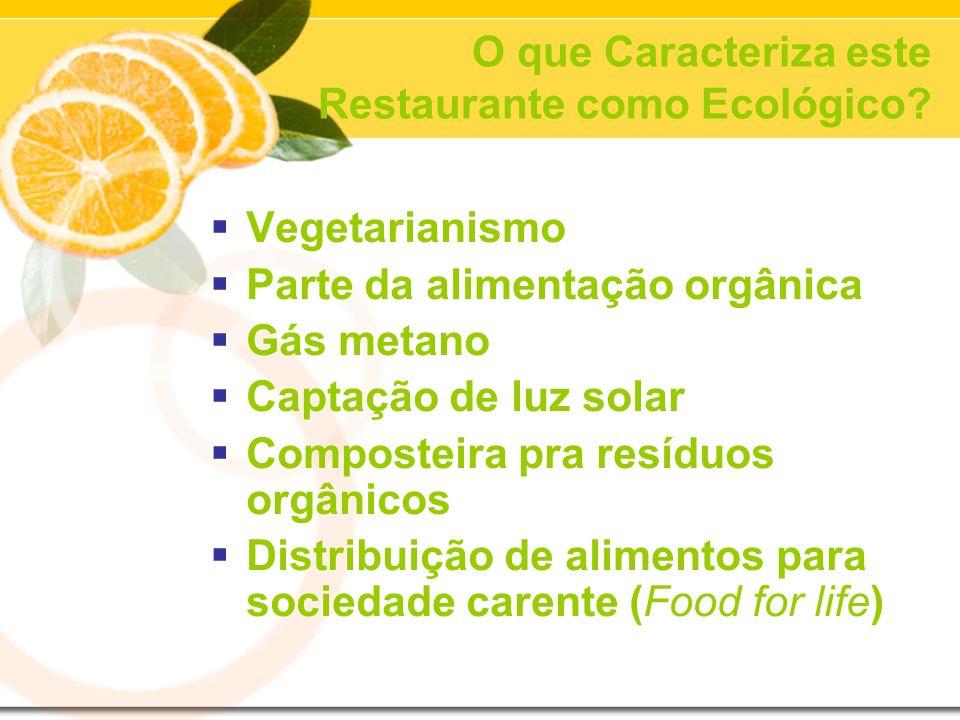 O que Caracteriza este Restaurante como Ecológico? Vegetarianismo Parte da alimentação orgânica Gás metano Captação de luz solar Composteira pra resíd