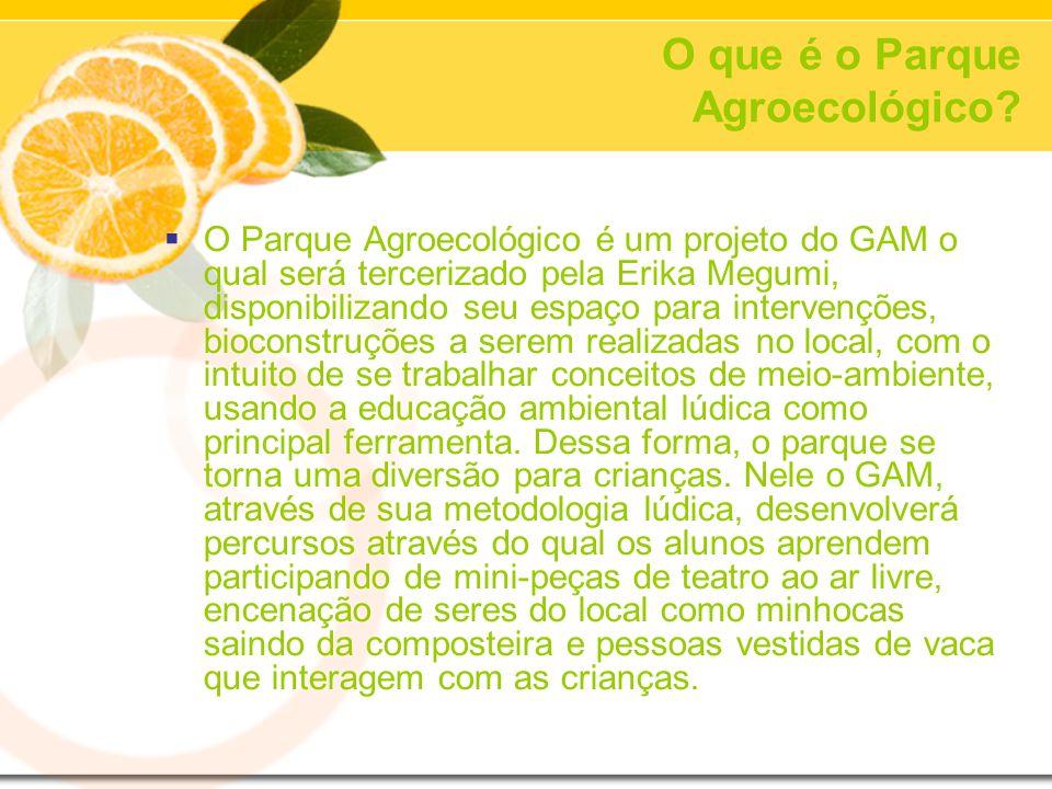 O que é o Parque Agroecológico? O Parque Agroecológico é um projeto do GAM o qual será tercerizado pela Erika Megumi, disponibilizando seu espaço para