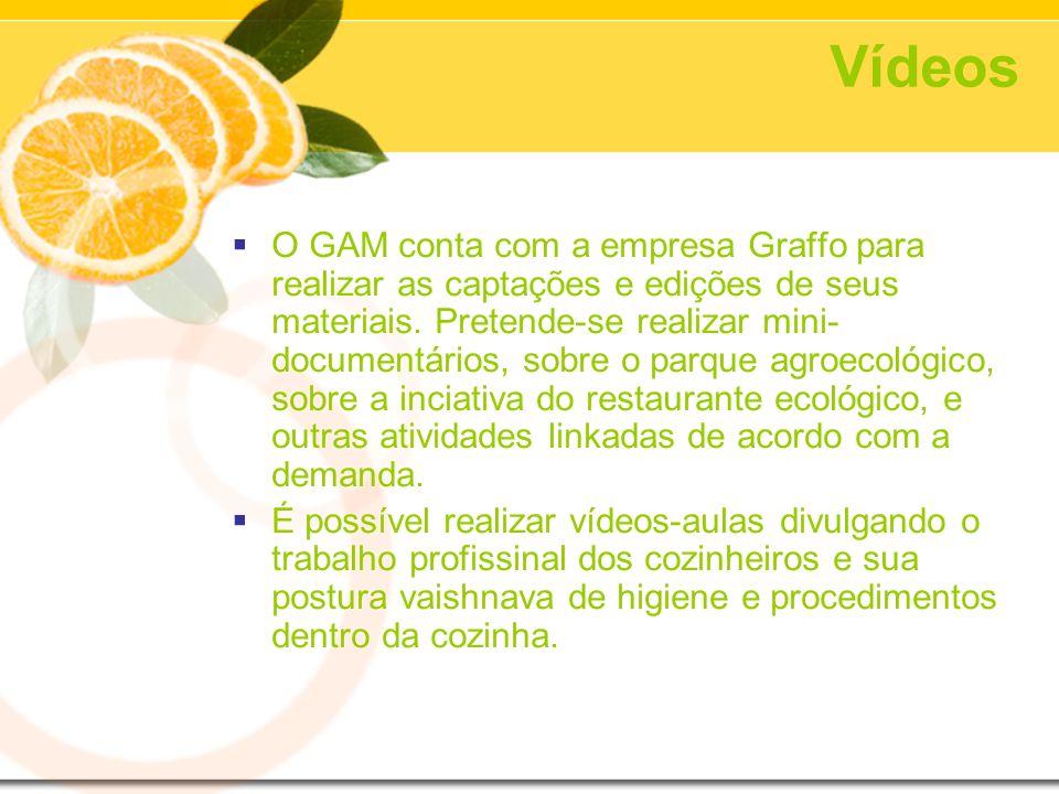 Vídeos O GAM conta com a empresa Graffo para realizar as captações e edições de seus materiais. Pretende-se realizar mini- documentários, sobre o parq